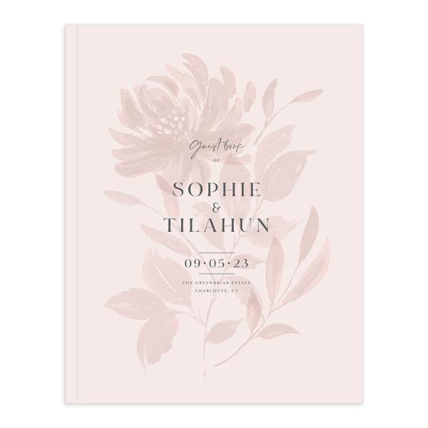 Botanical Imprint Wedding Guest Book front in pink