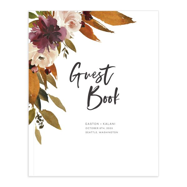 Fall Foliage Wedding Guest book front in brown