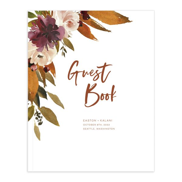 Fall Foliage Wedding Guest book front in pink