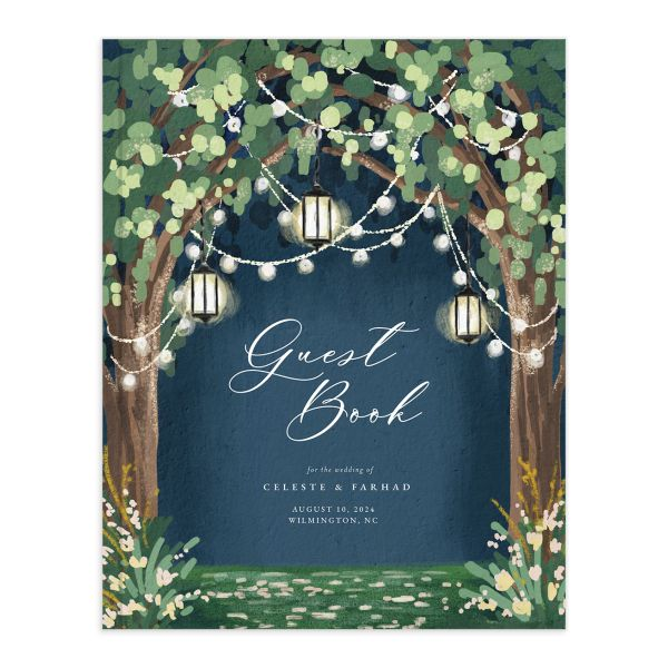 Illuminated Trees Wedding Guest Book front in blue