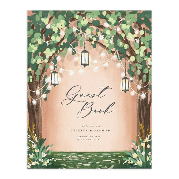 Illuminated Trees Wedding Guest Book front in pink