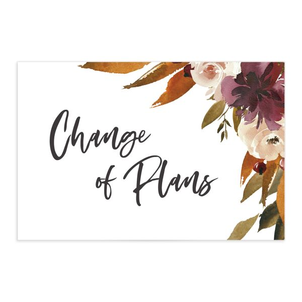 Fall Foliage Change the Date Postcard front in brown