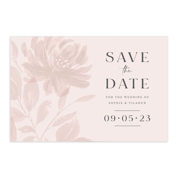 Botanical Imprint Save the Date Card front in pink