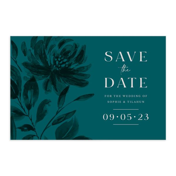 Botanical Imprint Save the Date Postcard front and back in teal