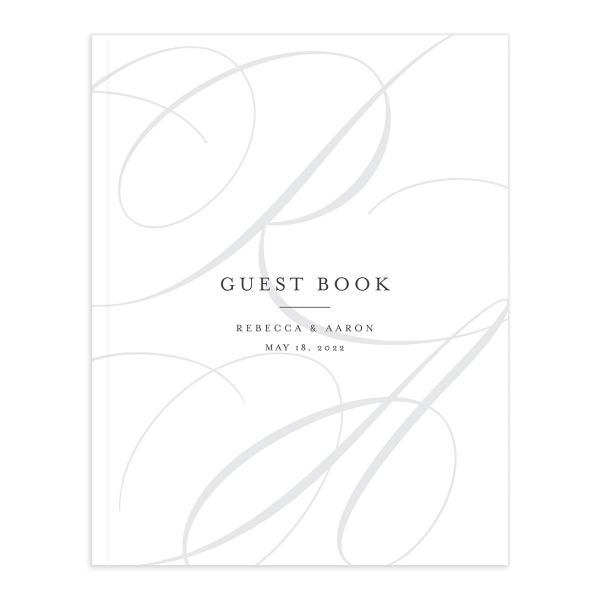 Elegantly Initialed Wedding Guest Book front in grey