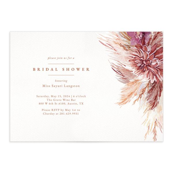 Pampas Elegance Bridal Shower Invitation front