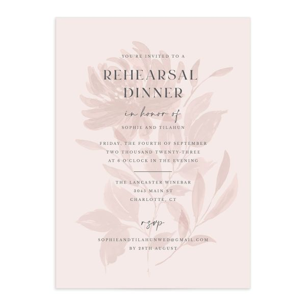 Botanical Imprint Rehearsal Dinner Invitation front in pink