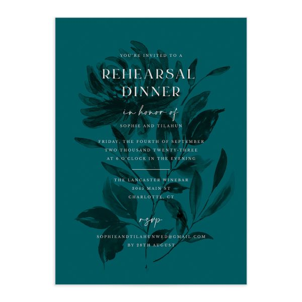 Botanical Imprint Rehearsal Dinner Invitation front in teal