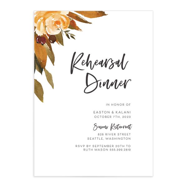 Fall Foliage Rehearsal Dinner Invitation front in brown