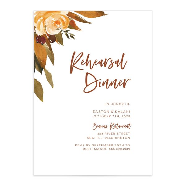 Fall Foliage Rehearsal Dinner Invitation front in pink