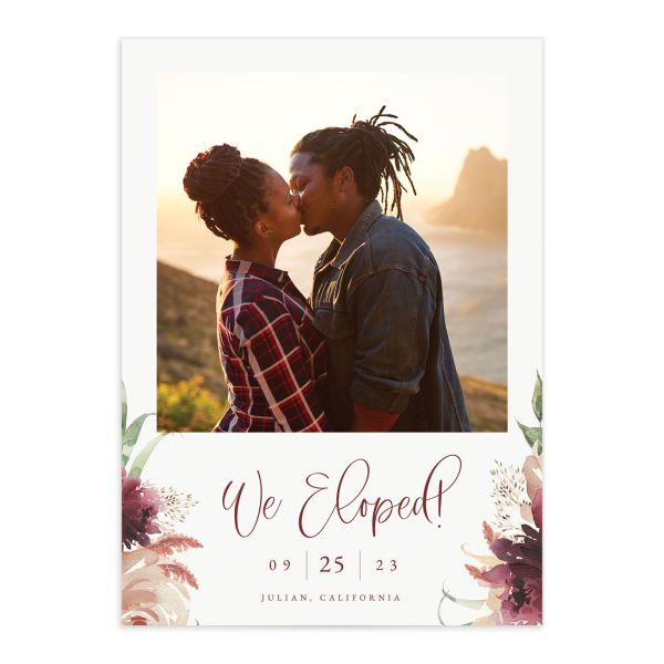 Floral Wreath Change the Date Card front in burgundy