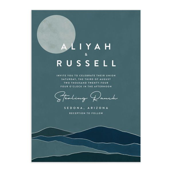 Abstract Hills Wedding Invitation front closeup in blue