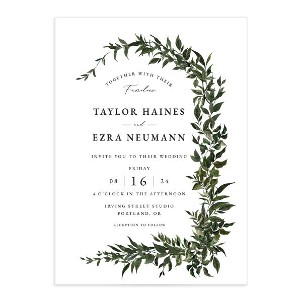 Classic Modern Wedding Invitation front in green