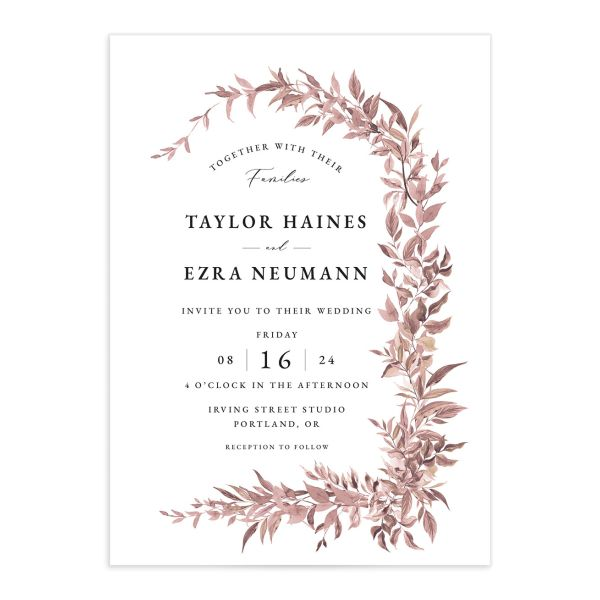 Classic Modern Wedding Invitation front in pink