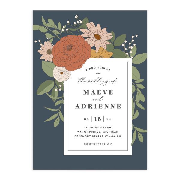 Retro Botanical Wedding Invitation front in navy