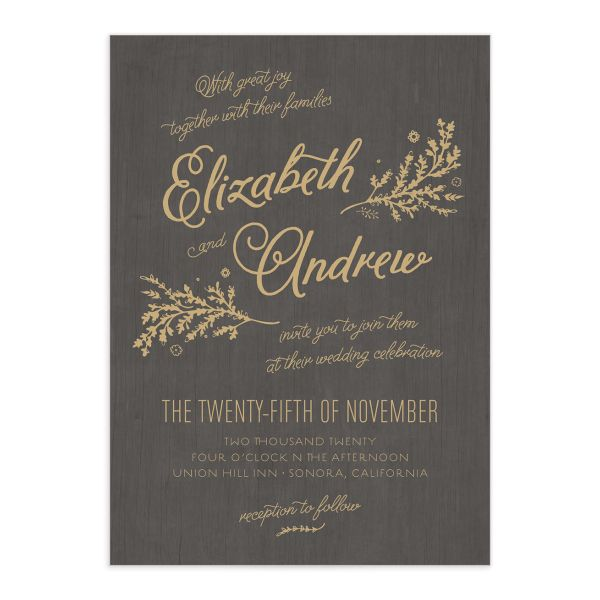 Rustic Chic Wedding Invitation front in brown