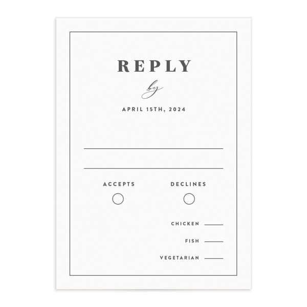 Retro Botanical Response Card front in navy
