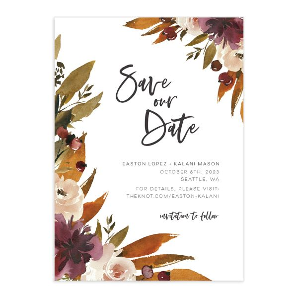 Fall Foliage Save the Date Card front in brown