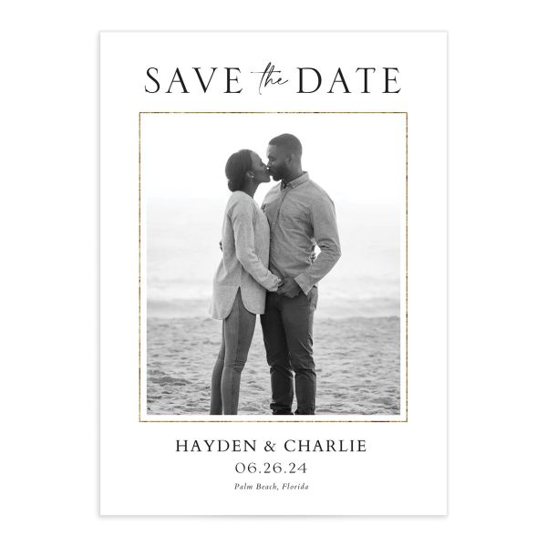 Tropical Monstera Save the Date Card front