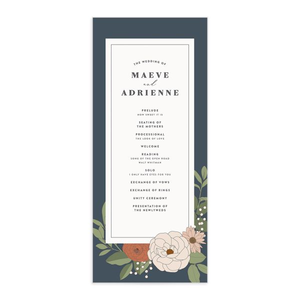 Retro Botanical Wedding Program Card front in navy