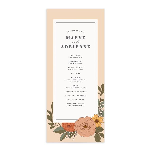 Retro Botanical Wedding Program Card front in peach