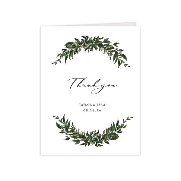 Classic Modern Thank You Card front in green