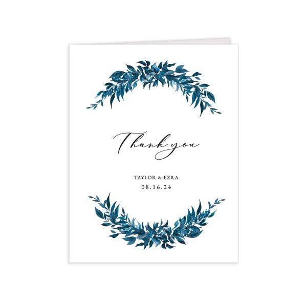 Classic Modern Thank You Card front in navy