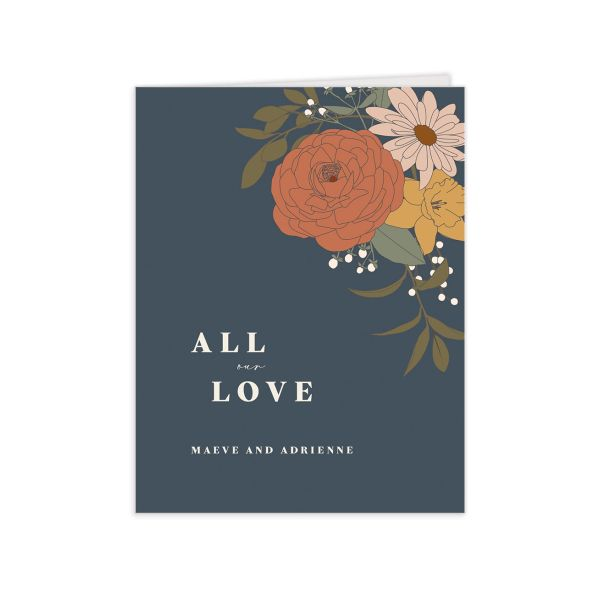 Retro Botanical Thank You Card front in navy
