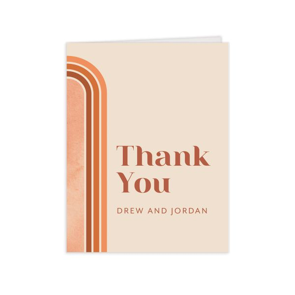 Retro Watercolor Thank You Card front in rust