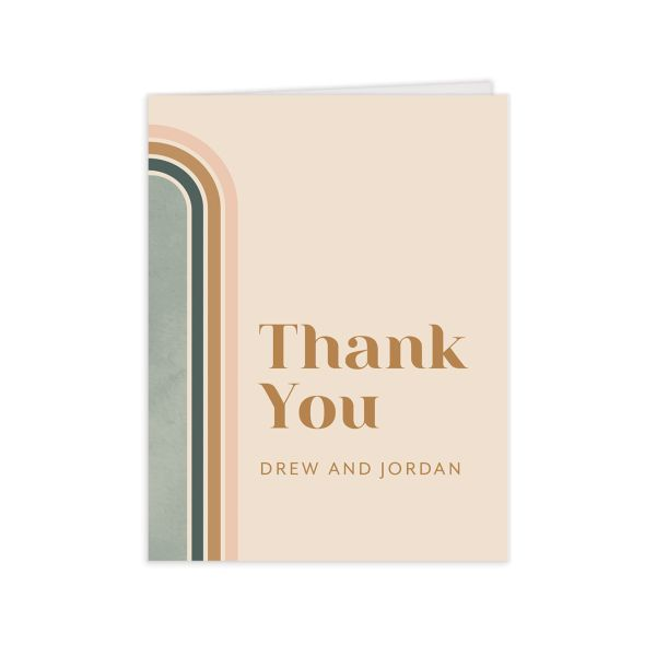 Retro Watercolor Thank You Card front in teal