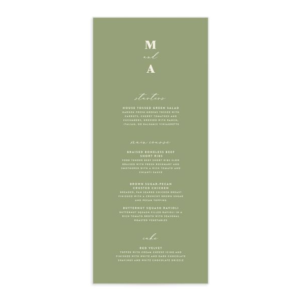 Retro Botanical Menu Card front in navy