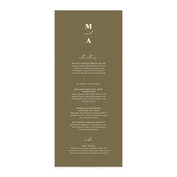 Retro Botanical Menu Card front in peach