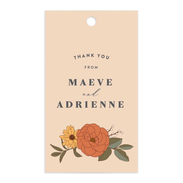 Retro Botanical Favor Gift Tag front in peach