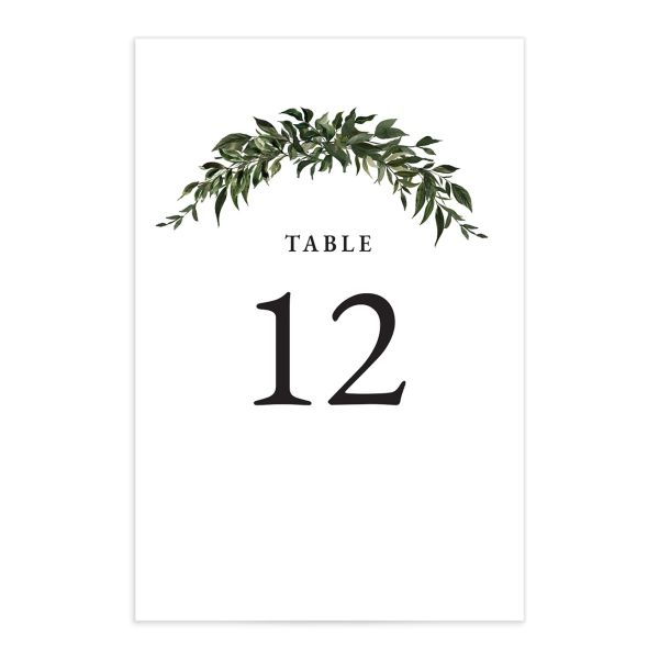 Classic Modern Table Number Card front in green