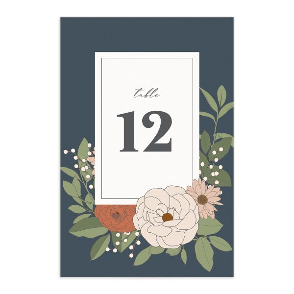 Retro Botanical Table Number Card front in navy