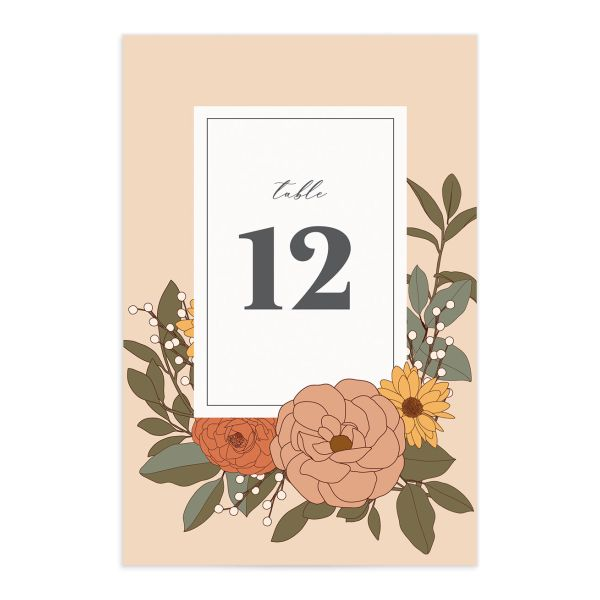 Retro Botanical Table Number Card front in peach