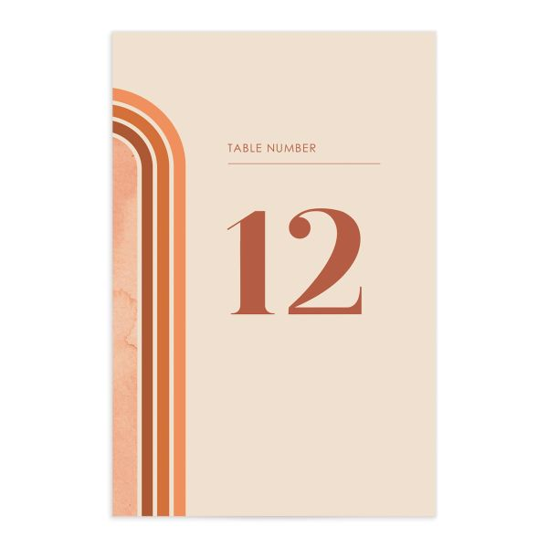 Retro Watercolor Table Number Card front in rust