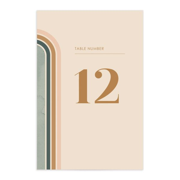 Retro Watercolor Table Number Card front in teal