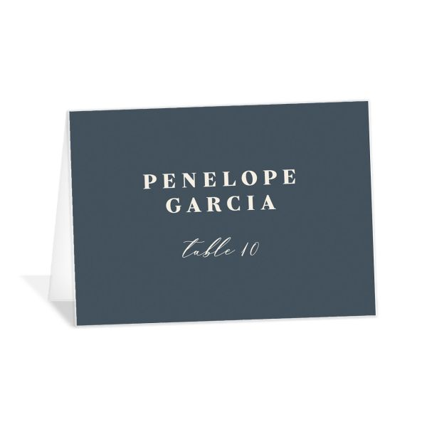 Retro Botanical Place Card front in navy