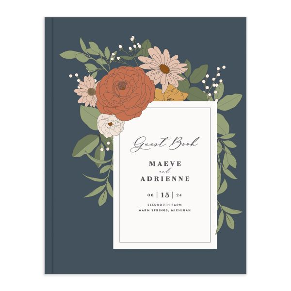 Retro Botanical Wedding Guest Book front in navy