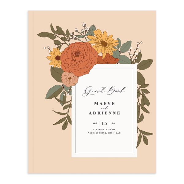 Retro Botanical Wedding Guest Book front in peach