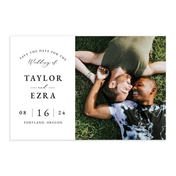 Classic Modern Save the Date Postcard front in navy