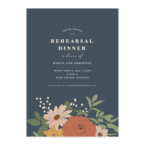Retro Botanical Rehearsal Dinner Invitation front in navy
