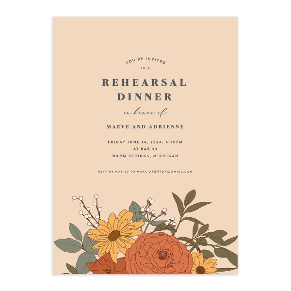 Retro Botanical Rehearsal Dinner Invitation front in peach