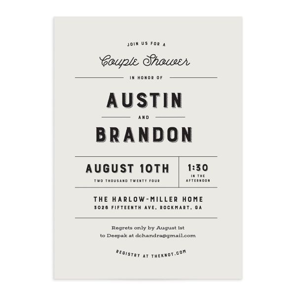 Rustic Typography Couple Shower Invitation front in cream
