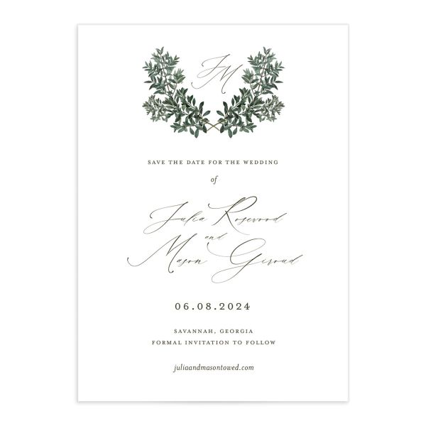 Formal Greenery Save The Date Cards