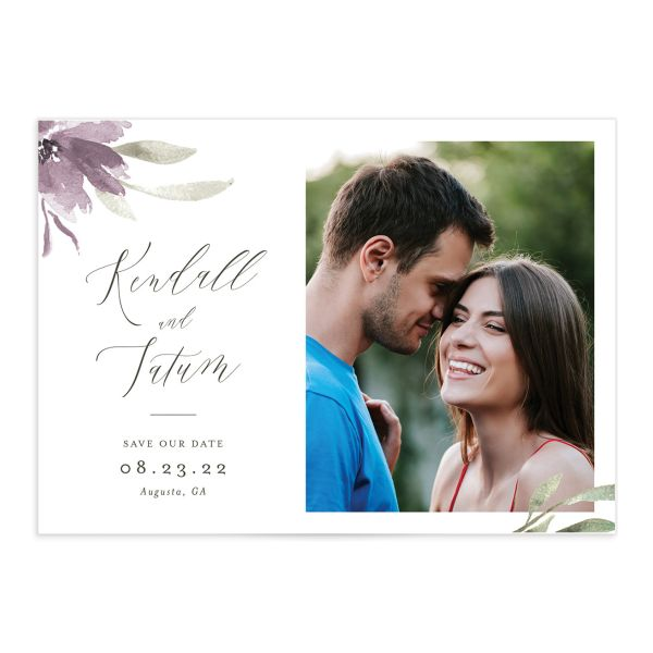 Muted Floral Save the Date Card front in purple