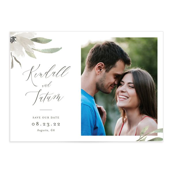 Muted Floral Save the Date Card front in white