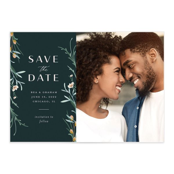 Dark Wreath Save the Date front closeup