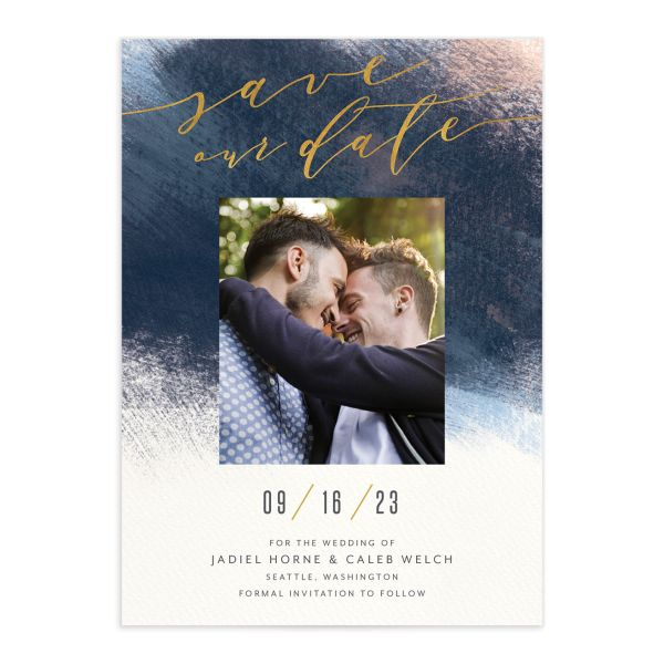 Modern Brushstroke Save the Date Card front in blue